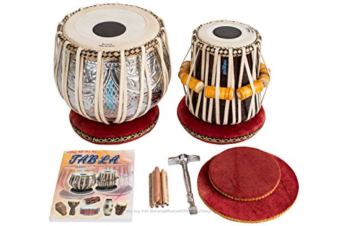 Tabla Drum Set, Maharaja Musicals Designer Tabla Drum, 4½ Kg Copper Bayan, Finest Dayan with Padded Bag, Book, Hammer, Cushions & Cover (PDI-FI)