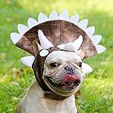 AOLVO Dog Dinosaur Costume, Cane Regolabile Triceratops Costume per Cani Come Bug, Bull Terrier, Shar pei, Bulldog, Corgi, Labrador Retriever, Giapponese, Akita, Poodle