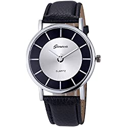 Familizo Women Fashion Retro Dial Leather Analog Quartz Wrist Watches Black