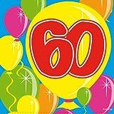 Folat 20Stk. Servietten Zahl 60 Geburtstag Jubiläum