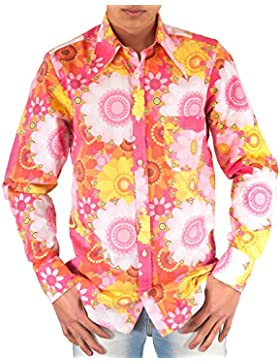 Buntes 70er Jahre Blumen Flower Power Hemd pink