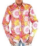 Comycom Buntes 70er Jahre Blumen Flower Power Hemd pink 3XL