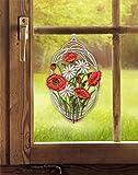 Fensterbild MOHNBLUMEN 21,5 x 33 cm (BxH) echte Plauener Spitze inkl. Saughaken Frühlingsdeko / Sommerdeko