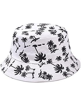 hugestore verano árbol de coco Bucket Hat sombrero de sol playa sol visera gorro tapa gorro de playa Cap Blanco