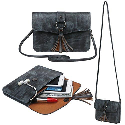 xhorizon Borsa a tracolla in pelle a croce in PU, borsa a moneta con raccoglitore in mini borsa a tracolla della borsa a tracolla con ciondolo a nappa #6