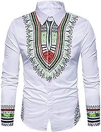 f35ca73c1e28 ZHRUI Camicia Uomo Manica Lunga 3D Bianca Manica Lunga Casual, Slim Fit  Camicia Pullover Polo Design 3D Africano Personalizzato…