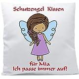Kissen mit Namen Wunschtext Schutzengel Mädchen braune Haare 40x40 cm inkl. Füllung Kuschelkissen,...