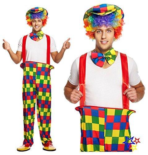 Erwachsene Herren Rainbow bunt Clown Kostüm - Einheitsgröße - PASST 44'' Brust (Für Erwachsene Rainbow Kostüm)