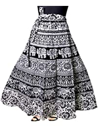 1305d3745 Kalpit Creations Women's Cotton Printed Wrap Around Skirt in Assorted  Design and prints in Black and white…