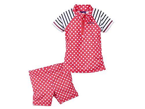 Kleinkinder Mädchen UV-Schutz Badebekleidung Verschiedene Fabren und Größen Wählbar (74-80, Rot mit Punkten) (Kleinkinder Badeanzüge Für Mädchen)