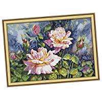IPOTCH Stamped Cross Stitch kit HD Printed Pink Rose Patterns Embroidery Crafts for Home Decor - Multicolor, 75 x 55 cm
