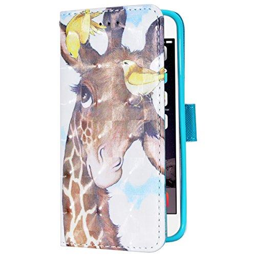 SMART LEGEND Lederhülle für iPhone 6 6S 4.7 Zoll Hülle Premium PU Leder Flip Case Cover mit Kratzfeste Stoßdämpfende Bookcase Pattern Muster Handy Tasche Schale mit Kartenfächer Standfunktion Schutzhü Giraffe