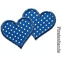 Herz Patch Pünktchen 2er Set Flicken zum aufbügeln für Mädchen