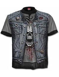 Spiral THRASH METAL Allover Printed T-Shirt Schwarz, Fels, Biker, Metall, PLUS SIZE