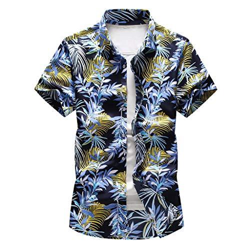 Dasongff Urlaub Strand Hawaiihemd Shirt Freizeithemd Kurzarm mit Modischem Druck Freizeithemd Mehrfarbig Sommer Freizeit Hemd Kurzarm Slim Fit Party Shirt Palm Beach Shirts