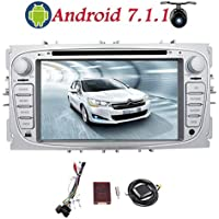 """Car Radio for Ford Focus 2009 2010 2011 2012 Double Din EinCar Android 7.1 Car DVD Player 7"""" HD Touch Screen Quad Core Car Stereo with GPS Navigation Support Mirror Link 4G 3G WIFI USB SD CANBUS OBD2 Bluetooth + Back up Camera"""