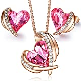 CDE 18K Rose Gold Plated Angel Heart Crystal Jewellery Set for Women,Pendant Necklace and Stud Earrings Embellished with Crystals from Swarovski Jewelry Gift (Rose Gold Pink Set)