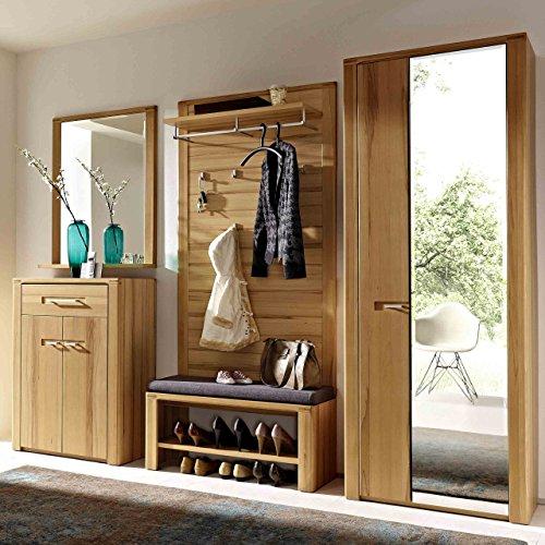 e-combuy Möbel Garderoben-Set in Kernbuche bestehend aus Garderobenschrank, Garderobenpaneel, Bank, Spiegel und Schuhschrank, Gesamtmaß Breite 268 cm Höhe 200 cm Tiefe 40 cm