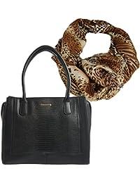 fc510862aef4bc Damen- Henkel- Tasche, Geräumige Handtasche in Krokodilleder-Optik,  Geschenk- Set mit Halstuch, langer Schal im Leoparden- Design mit…