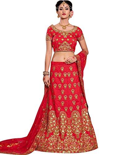 Indian Ethnicwear Bollywood Pakistani Wedding Red Coloured Lehenga Un-stitched