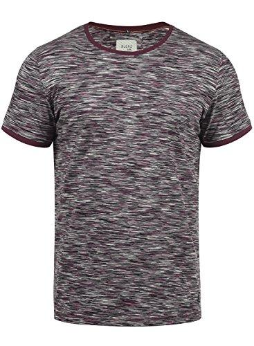 Blend V-neck T-shirt (Blend Lex Herren T-Shirt Kurzarm Shirt Mit Streifen Und Rundhalsausschnitt 100% Baumwolle, Größe:L, Farbe:Wine Red (73812))