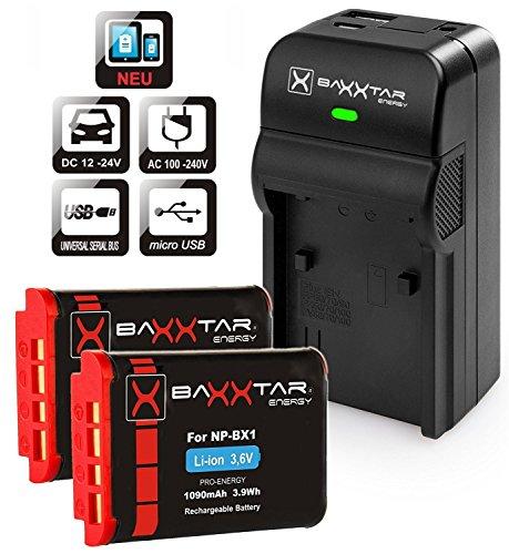 Baxxtar Razer 600 Ladegerät 5 in 1 mit (2x) Baxxtar Pro Akku (1090mA) - Ersatz für Akku Sony NP-BX1 - USB-Ausgang Zum Laden eines Drittgerätes