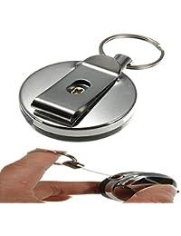FamilyMall - Llavero retráctil de acero con clip para tarjeta identificativa y anilla para el cinturón