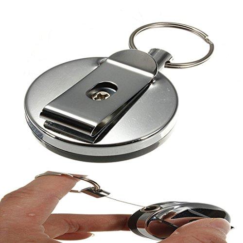 Llavero retráctil de acero con clip para tarjeta identificativa y anilla para el cinturón de FamilyMall (TM)