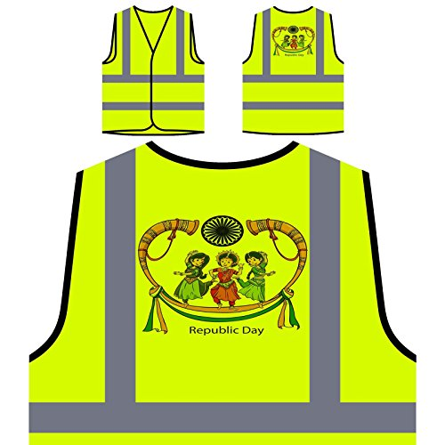 Indien Republik Day Celebration Personalisierte High Visibility Gelbe Sicherheitsjacke Weste v881v