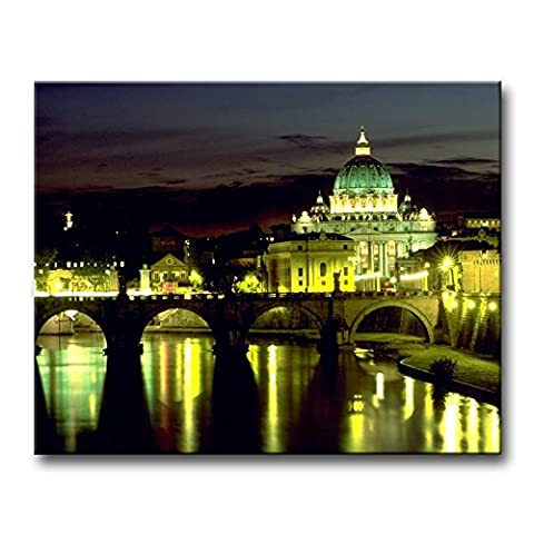 Vert Décoration murale Tableau basilique Italie Rome pont Angel Square Night Lights réflexion Vatican des Impressions sur toile images à la ville à l'huile pour Home Décor Imprimé moderne Décoration