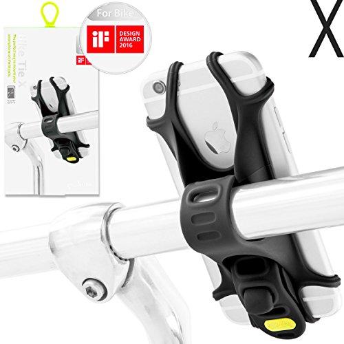 Bone Collection Fahrrad Handyhalterung für die Lenkstange 4 - 6 Zoll Smartphones, patentierte und mit Design Award ausgezeichnete, universale Smartphonehalterung fürs Rad - Bike Tie X (schwarz)