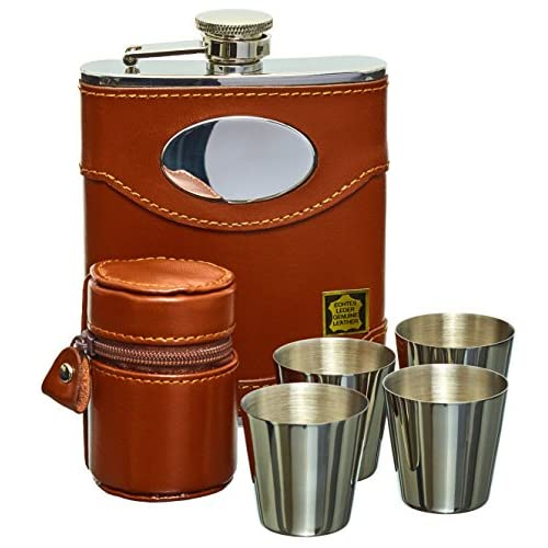 51zwiVdFQAL. SS500  - Hip Flask Set, Whiskey Flask Set - 6oz Brown Leather Hip Flask With Engravable Silver Plate + 4 Stainless Steel Cups, Made From Premium Grade Spanish Leather Including Gift Box From Gents Gifts Online