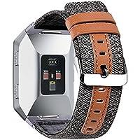 Fitbit Ionic Smart Uhrenarmbänder Stoff + Lederarmband Ersatz Sport Smartwatch Super Softarmband für Herren Damen CHIMAERA