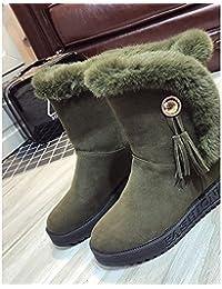 HSXZ Zapatos de mujer invierno PU botas botas de combate nulo bajo el talón puntera redonda Mid-Calf Botas de...