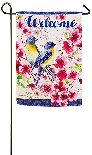 Evergreen Bluebirds und Cherry Blossom Wildleder Garten Flagge, 31,8x 45,7cm - Cherry Blossom Ärmel