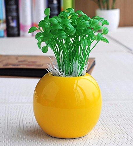 XPHOPOQ Künstliche Blumen simulation Anlagen kreativ Keramik Vase Mode Indoor Home Decoration Geburtstagsgeschenk Topfpflanzen gelb (Indoor-rebe-anlage)