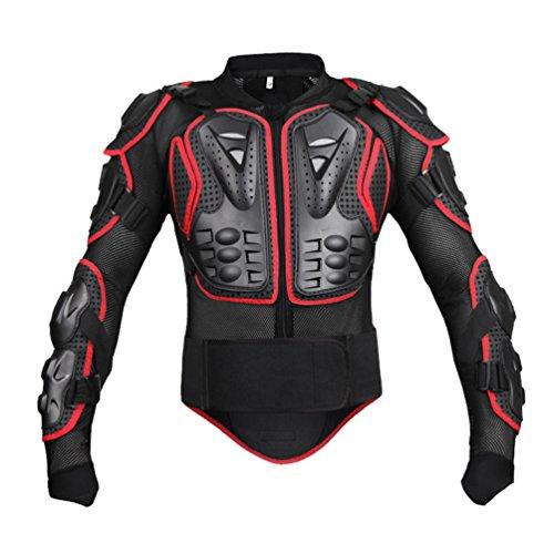 Dexinx Motorrad Radfahren Reiten Full Body Armor Rüstung Protector Professionelle Street Motocross Guard Shirt Jacke mit Rückenschutz Schwarz Rot 2XL