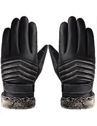 Los guantes de cuero, guantes de la pantalla táctil Richoose Texting guantes de cuero de invierno manoplas calientes guantes de conducción para los hombres-B