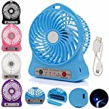 Famous Quality® Portable Rechargeable LED Fan Air Cooler Mini Operated Desk USB 18650 Battery Operated Clip Cooling 3-Mode Fan, Small Personal USB Or Battery Powered Fan, Rechargeable By NetBook, PC, 360 Degree Rotation, Powerful Wind For Baby Strolle