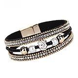 Femme Bracelet,Beauté TopFemmes Multicouche Cristal Perlé Cuir Magnétique Bracelet (Noir)