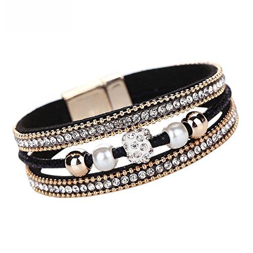 Supersofte Armbänder   Ideales Geschenk   Geschenke für Frauen Kinder Mädchen   Armband   Frauen Multilayer Armreif Kristall Perlen Leder Wristband handgewebte Perlen Vintage Armband