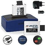 2x Akku + Dual-Ladegerät (Netz+Kfz+USB) für Rollei Actioncam 425, 426 (4K 2160p)