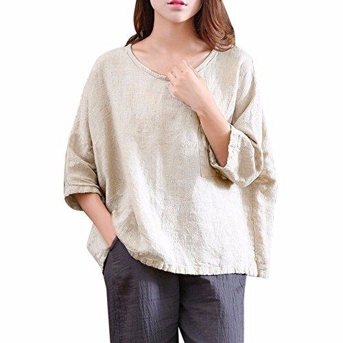 (BHYDRY Frauen lose Ramie Baumwolle übergroßen Pullover Dreiviertel Top Bluse Shirt(EU-50/CN-XL,Beige))