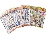 5 x blätter puppe mädchen verkleidung kleidung puffy 3D stil aufkleber wiederverwendbare sticker zum Basteln Kinder Schrott-bücher-geburtstag Karten - von Fett-Catz