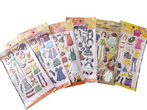 5 fogli doll dressing-up clothes 3D adesivo riutilizzabile per Craft-Adesivi per Birthday Cards-Album By Fat-Catz