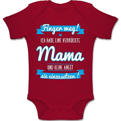 Shirtracer Sprüche Baby - Ich Habe eine Verrückte Mama Blau - 1-3 Monate - Rot - BZ10 - Baby Body Kurzarm Jungen Mädchen (Beste Kleidung)