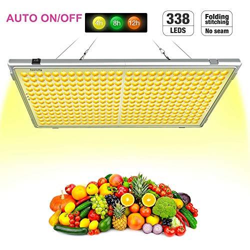Relassy Pflanzenlampe LED 300W Lichtleistung Automatische An/Aus 338 LEDs Pflanzenlampe Vollspektrums mit Timing-Funktion, 65W Verbrauch, Klappbare Pflanzenlicht für Zimmerpflanzen/Gewächshaus(F-300)