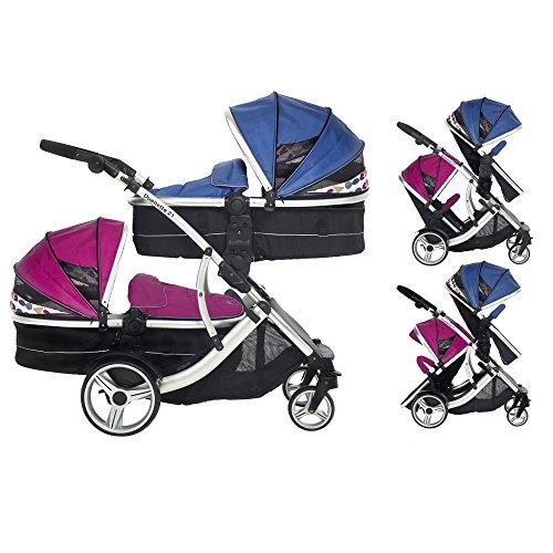 Kidz Kargo Duellette 21Zwillingskinderwagen Twin Tandem Kinderwagen Baby Newborn Babywanne Kinderwagen Travel System: 2Pramette/Seat Einheiten. Blueberry und Raspberry durch die Kinder Kargo