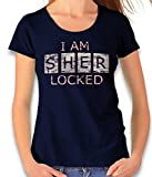 shirtminister I Am Sherlocked Vintage Damen T-Shirt Dunkelblau 2XL