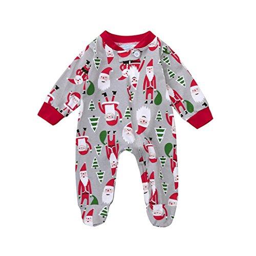 Schlanke Kostüme Kinder (Kinder Strampler Hirolan Säugling Kind Kleinkind Weihnachten Strampler Sankt Jungen Mädchen O-Ausschnitt Kleider Lange Ärmel Overall 0-24 Monate Baby (90,)